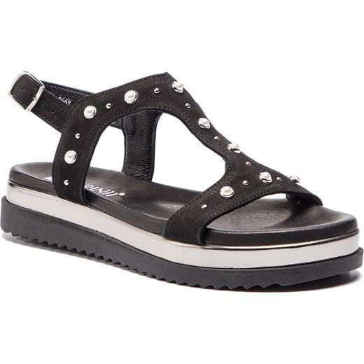 Czarne sandały damskie Carinii casual bez wzorów z klamrą z tworzywa sztucznego na lato na płaskiej podeszwie Buty Damskie QX czarny Sandały damskie RJNW