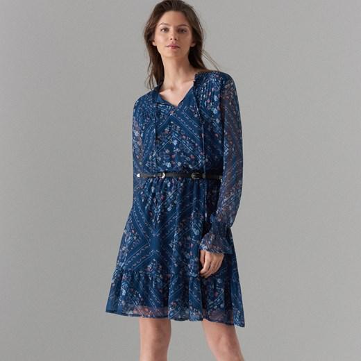 26e891b9d4 Niebieska sukienka Mohito mini na spacer z długim rękawem w Domodi