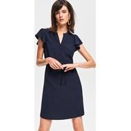 393f34c259 Sukienka Reserved z dekoltem v dopasowana do pracy z krótkim rękawem bez  wzorów mini