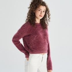 bae03fe88cc3 Sweter damski czerwony Sinsay z okrągłym dekoltem