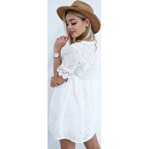 8556121877 ... długim rękawem mini trapezowa casual na spacer  Sukienka casual trapezowa  biała mini koronkowa ...