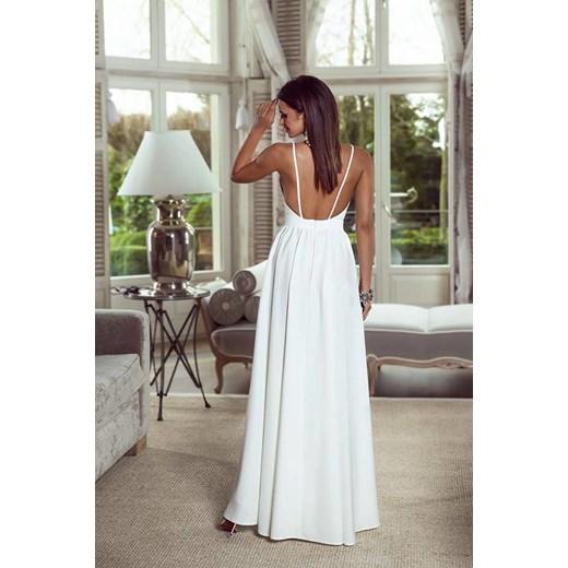 111 Sukienka maxi z rękawem 34 MIRACLE biała biała