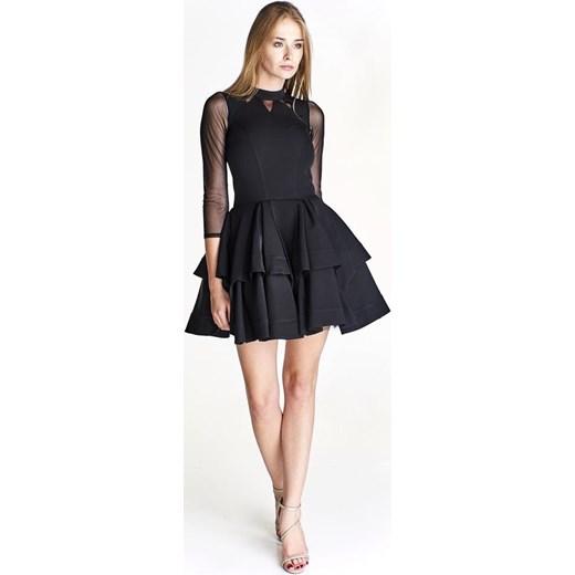 95be4858f1 Sukienka Pawelczyk24.pl na bal na studniówkę rozkloszowana mini z długim  rękawem elegancka