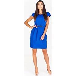 e3e1c5b1b5 Sukienka Pawelczyk24.pl bombka midi do pracy elegancka z krótkimi rękawami