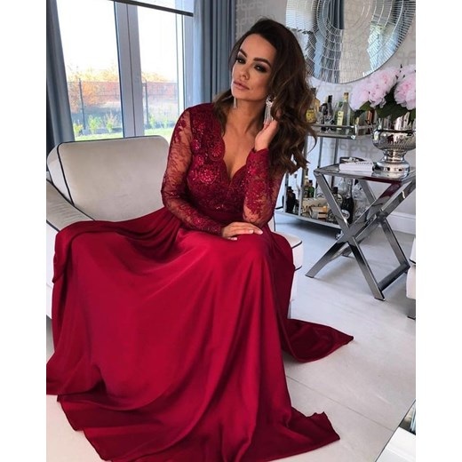 4c5e8adc2f Sukienka Emo Sukienki balowe z koronką elegancka z długim rękawem  karnawałowa