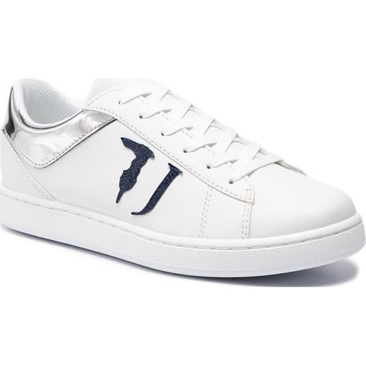 3a65ab05f1196 Trampki damskie Trussardi Jeans z tworzywa sztucznego sportowe białe  sznurowane bez wzorów na płaskiej podeszwie z
