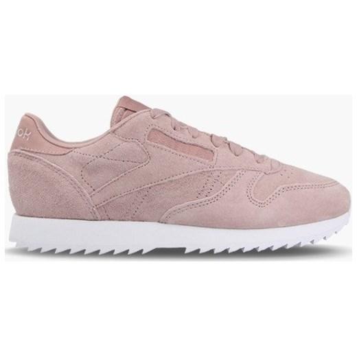 77720879 Buty sportowe damskie Reebok Classic sneakersy młodzieżowe różowe na  płaskiej podeszwie ze skóry