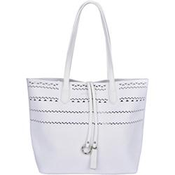 2c2b1ed4d4b20 Shopper bag biała David Jones na ramię młodzieżowa matowa duża