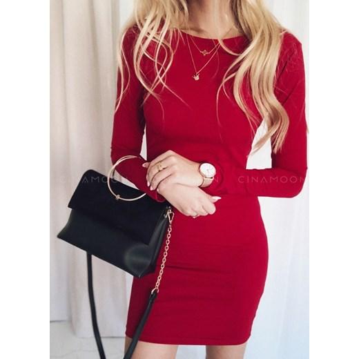 412f8fbdc4 Czerwona sukienka Cinamoon dopasowana na spotkanie biznesowe z długim  rękawem z okrągłym dekoltem