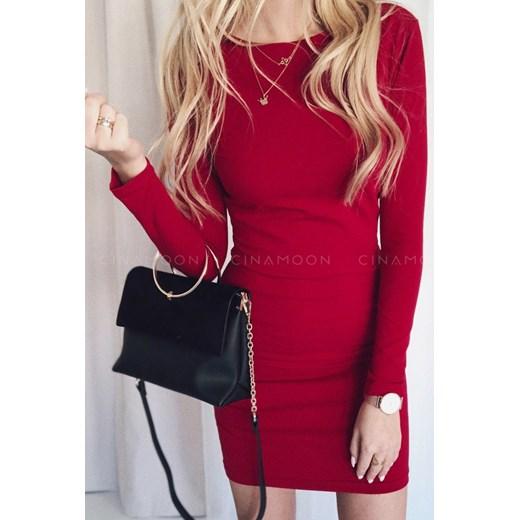 5b21ff0450 Czerwona sukienka Cinamoon dopasowana na spotkanie biznesowe z długim  rękawem z okrągłym dekoltem  Sukienka Cinamoon czerwona bez wzorów  dopasowana ...
