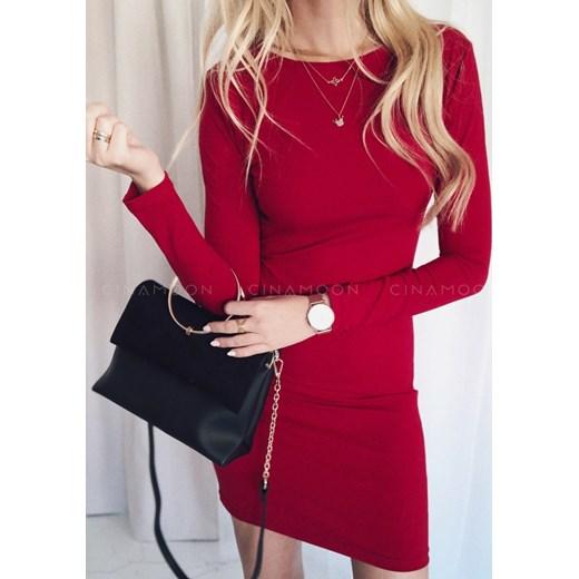 2cc8967ec7 ... okrągłym dekoltem  Sukienka Cinamoon czerwona bez wzorów dopasowana  Sukienka  Cinamoon na spotkanie biznesowe czerwona mini z długim rękawem dopasowana