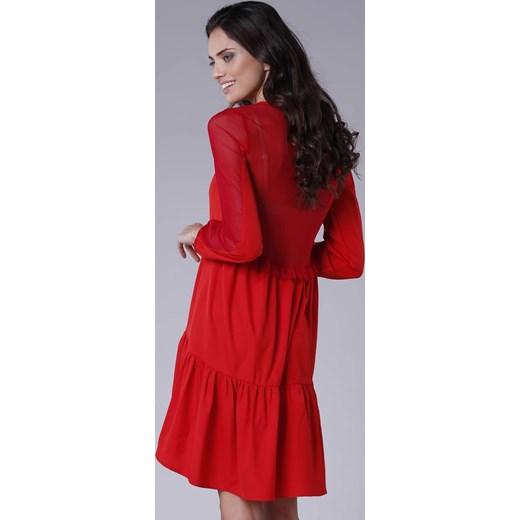 bd6ed686e0 Czerwona sukienka Pepe midi oversize z długim rękawem luźna  Sukienka Pepe  na randkę luźna casual midi ...