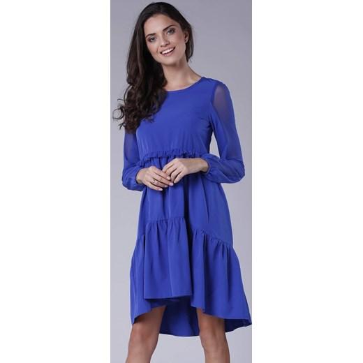 4b837f7439 Pepe sukienka z długim rękawem midi elegancka luźna niebieska oversize owa