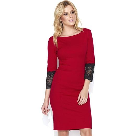 92635c90 Sukienka Makadamia czerwona z okrągłym dekoltem na randkę dopasowana z  długim rękawem