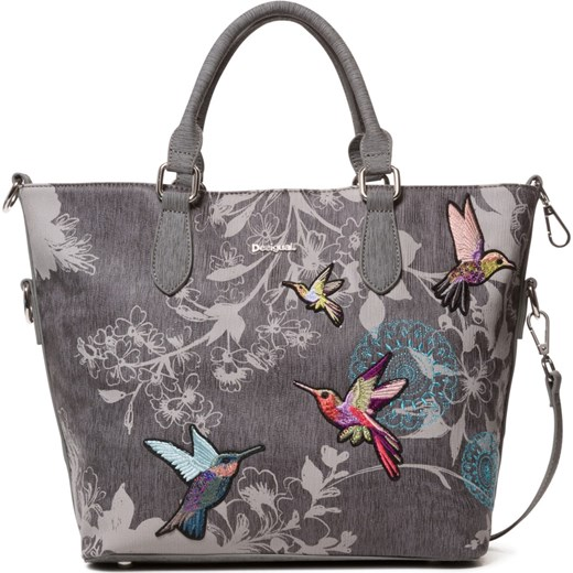 6cf6f8efa6a60 Shopper bag Desigual szara boho ze zdobieniami do ręki  Shopper bag  Desigual bez dodatków duża boho