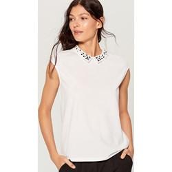 42a54e308e Biała bluzka damska Mohito z krótkim rękawem