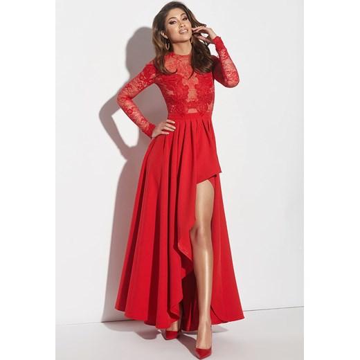 f04a89769a Lou Women`s Fashion sukienka na bal czerwona maxi asymetryczna na karnawał  na wiosnę