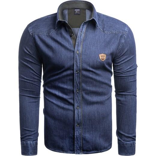 04def19b2b26c Koszula męska niebieska Risardi na jesień casualowa w Domodi