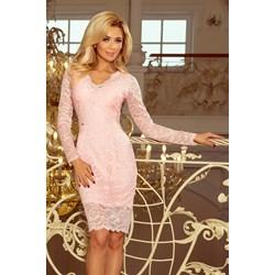 9389cd1c Różowa sukienka Numoco midi z okrągłym dekoltem na wiosnę z koronką z  długimi rękawami
