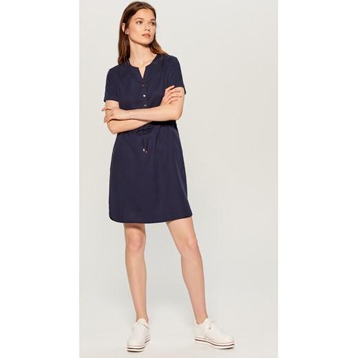 dfbb45a8db Sukienka Mohito niebieska na wiosnę mini bez wzorów z dekoltem w ...