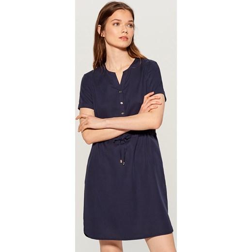 ab2aa577c7 Sukienka Mohito niebieska na wiosnę mini bez wzorów z dekoltem w literę v z krótkim  rękawem ...