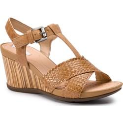 701f9270 Sandały damskie Geox gładkie z klamrą na średnim obcasie