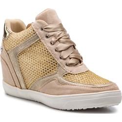 9265872d Sneakersy damskie Xti na koturnie żółte młodzieżowe sznurowane z tworzywa  sztucznego ...