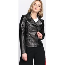 f0bfc88e270ed Kurtka damska Born2be w rockowym stylu bez wzorów czarna krótka