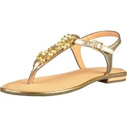 afacc8c41d6b0 Sandały damskie Geox casual złote bez wzorów ze skóry na płaskiej podeszwie