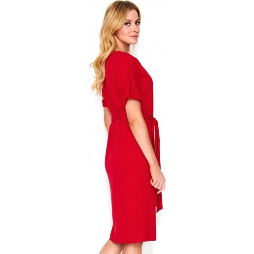 88331a8469 Sukienka Nunu gładka oversize czerwona luźna na randkę na wiosnę z ...