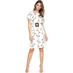 2f78a7c6c3 Sukienka L af biała z krótkimi rękawami z okrągłym dekoltem prosta midi na  spacer