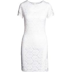 46db0d9607 Sukienka biała Born2be casual z krótkimi rękawami z okrągłym dekoltem
