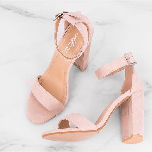 Sandały damskie gładkie eleganckie zamszowe na słupku Buty
