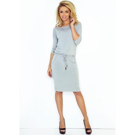 d3f5ecaae2 Cementowa Sukienka Dresowa ze Ściąganym Paskiem Coco Style M Coco-fashion.pl