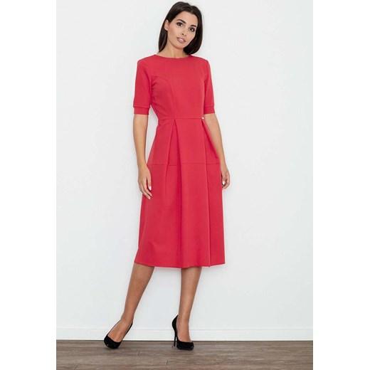 a3496acfa2 Figl sukienka bez wzorów czerwona z okrągłym dekoltem trapezowa midi ...