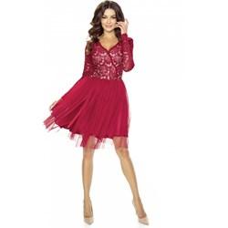e89ac57a7c Czerwone sukienki wieczorowe długi rękaw rozkloszowane