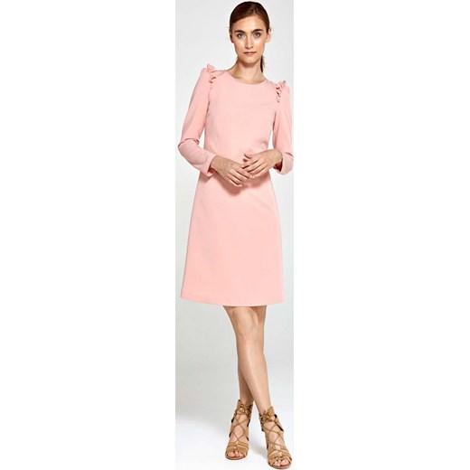 16a0bdc576 Różowa Sukienka Trapezowa z Małymi Falbankami Nife L Coco-fashion.pl