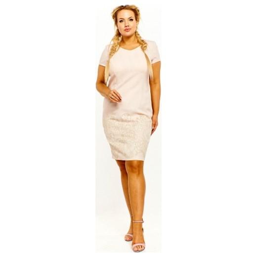 bfdae6a5de Sukienka Bellezza z krótkimi rękawami midi  Bellezza sukienka z krótkimi  rękawami ołówkowa midi z okrągłym dekoltem ...