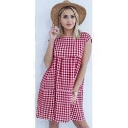 26ca47a681 Sukienka na wiosnę różowa z okrągłym dekoltem na co dzień w kratkę z  poliestru