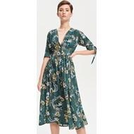 acd4f02de4 Sukienka Reserved na spacer zielona midi w kwiaty z długim rękawem
