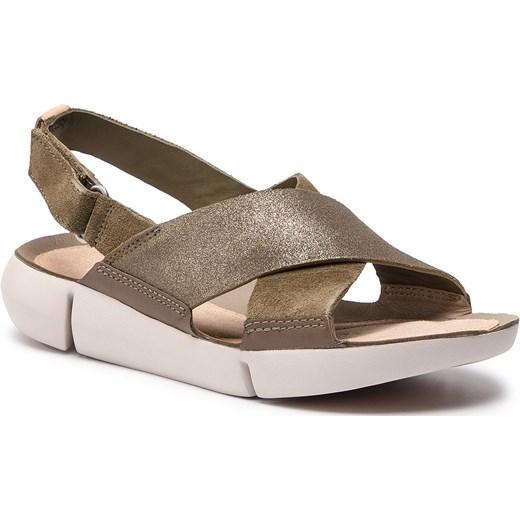 Sandały damskie brązowe Clarks z tworzywa sztucznego bez wzorów casual Buty Damskie CO brązowy Sandały damskie COVA