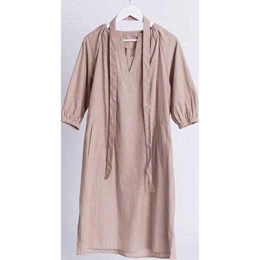 cd322ab8c7 Sukienka Selfieroom na co dzień bez wzorów lniana z długim rękawem  Sukienka  Selfieroom wiosenna lniana na co dzień ...