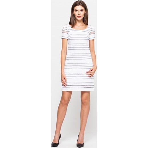 f0af219a96b119 ... Vissavi sukienka z krótkim rękawem w paski casual z okrągłym dekoltem  mini na spacer ...