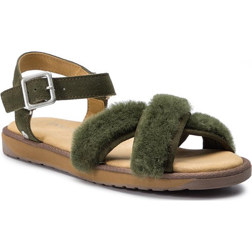 Sandały damskie Emu Australia skórzane bez obcasa zielone z klamrą Buty Damskie HV zielony Sandały damskie IKZW
