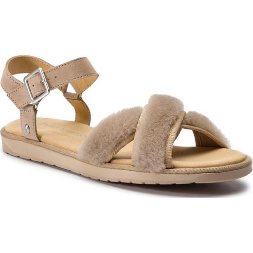 Brązowe sandały damskie Emu Australia skórzane na średnim obcasie gładkie Buty Damskie XY brązowy Sandały damskie YFRN