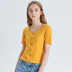6886e01d07 Cropp bluzka damska bez wzorów z okrągłym dekoltem
