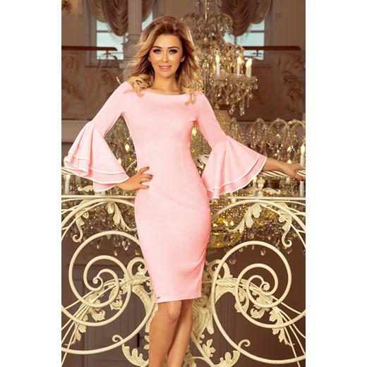 867d5a2160 Sukienka Saf na wiosnę na wesele elegancka z okrągłym dekoltem w Domodi