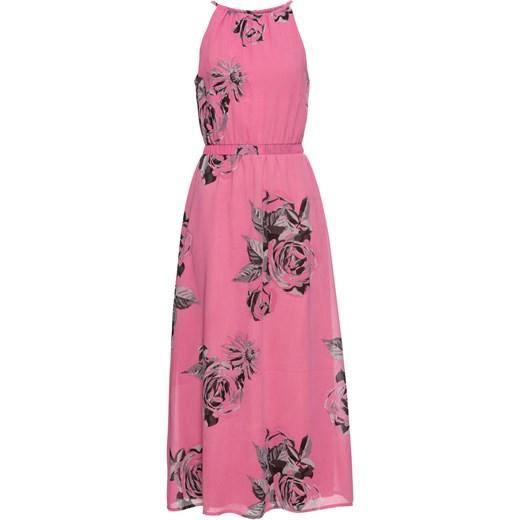 Sukienka różowa BODYFLIRT bez rękawów prosta maxi elegancka