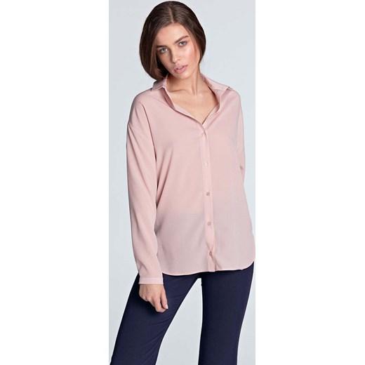 Różowa koszula damska Nife z bawełny z długim rękawem z