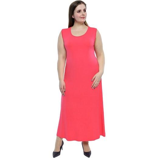 d4d8641287c Sukienka różowa z elastanu maxi z okrągłym dekoltem dla puszystych w ...